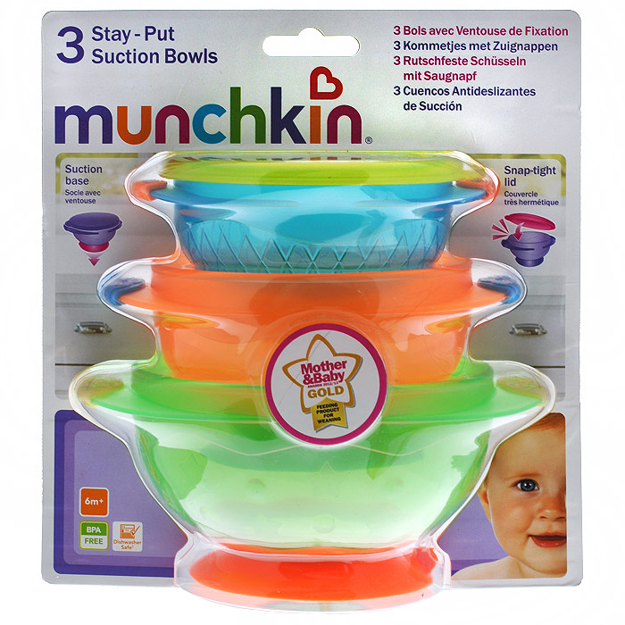 Набор детских тарелок Munchkin, на присосках, 3 шт115610Детские тарелки Munchkin, выполненные из безопасного пластика (не содержит бисфенол А), прекрасно подойдут для кормления малыша и самостоятельного приема им пищи. Тарелки снабжены присосками, которые прочно удерживают их на поверхности стола, благодаря чему они не упадут, еда не прольется, а ваш малыш будет доволен. В комплект входит плотно закрывающаяся крышка к маленькой тарелке, которая позволит хранить остатки еды. Характеристики:Материал: пластик, резина. Размер большей тарелки: 15 см х 12 см х 6,5 см. Размер меньшей тарелки: 12 см х 10 см х 5,5 см. Размер упаковки: 17,5 см х 20 см х 13 см. Изготовитель: Китай. Кредо Munchkin, американской компании с 20-летней историей: избавить мир от надоевших и прозаических товаров, искать умные инновационные решения, которые превращает обыденные задачи в опыт, приносящий удовольствие. Понимая, что наибольшее значение в быту имеют именно мелочи, компания создает уникальные товары, которые помогают поддерживать порядок, организовывать пространство, облегчают уход за детьми - недаром компания имеет уже более 140 патентов и изобретений, используемых в создании ее неповторимой и оригинальной продукции. Munchkin делает жизнь родителей легче!