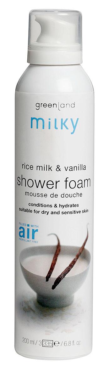Greenland Мусс для душа Milky, с рисовым молочком и ванилью, 200 млC4935900Легкий мусс для душа бережно очищает кожу, делая ее нежной и шелковистой. Протеины рисового молочка увлажняют и смягчают кожу, ваниль придает ей нежный аромат. Способ применения:Наносите на влажную кожу массажными движениями, , а затем смойтеводой. Характеристики:Объем: 200 мл. Артикул: 1256-MY21. Производитель: Нидерланды. Товар сертифицирован.Состав: вода, содиум лаурил сульфат, кокамидопропил бетаин, бутан, натрия хлорид, пропилен гликоль, пропан, линалоол, этилендиаминтетрауксусная кислота, гексил циннамал, цитронеллол, сорбитол, глицерин, лимонен, ксантановая камедь, парфюмерная композиция, ваниль, рисовый экстракт.