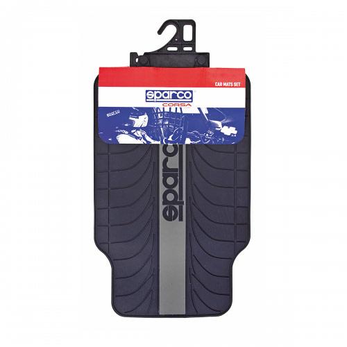 Ковры автомобильные Sparco Racing, ПВХ, морозоустойчивые, цвет: черный, серый, 4 предмета