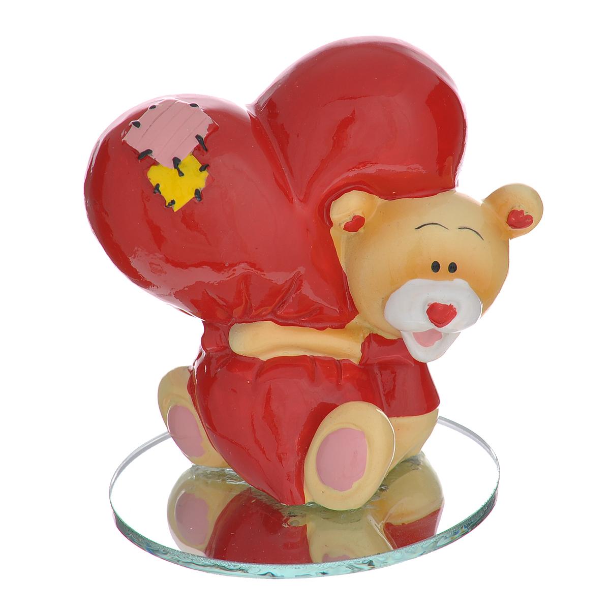 Фигурка декоративная Мишка-валентинка, цвет: красный. 123437 фигурка декоративная мишка валентинка цвет красный 123437