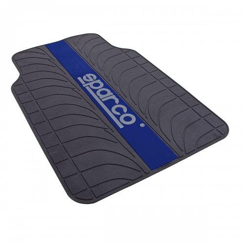 Ковры автомобильные Sparco Racing, ПВХ, морозоустойчивые, цвет: черный, синий, 4 предмета