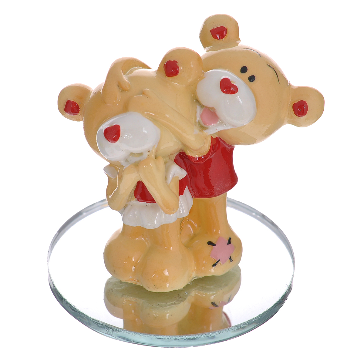 Фигурка декоративная Мишка-валентинка. 12343194031Декоративная фигурка Мишка-валентинка изготовлена из полистоуна в виде двух милых медвежат. Фигурка помещается на круглую зеркальную подставку. Такая фигурка станет идеальным сувениром ко Дню Святого Валентина, она без лишних слов выразит все ваши чувства. Фигурка упакована в подарочную коробку, перевязанную красной атласной лентой. Характеристики: Материал: полистоун, стекло. Цвет: бежевый, красный. Высота фигурки: 5,5 см. Диаметр основания: 5 см. Размер упаковки: 7,5 см х 6 см х 10 см. Артикул: 123431.