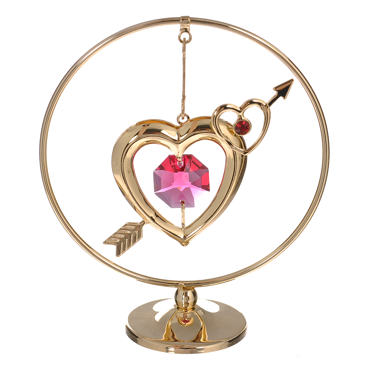 Фигурка декоративная Сердце на подвеске, цвет: золотистый. 6759689452Декоративная фигурка Сердце выполнена из углеродистой стали, покрытой золотом толщиной 0,05 микрон. Фигурка представляет собой круглый обруч с подвеской в виде сердечка. Фигурка украшена крупным граненым кристаллом Swarovski розового цвета. Поставьте фигурку на стол в офисе или дома и наслаждайтесь изящными формами и блеском кристаллов.Изысканный и эффектный, этот сувенир покорит своей красотой и изумительным качеством исполнения, а также станет замечательным подарком. Характеристики:Материал: углеродистая сталь, кристаллы Swarovski. Размер фигурки (ДхШхВ): 7 см х 3 см х 8 см. Цвет: золотистый. Размер упаковки: 7,5 см х 5 см х 10 см. Артикул: 67596.