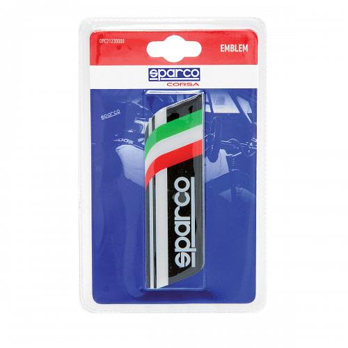 Эмблема с логотипом Sparco, самоклеящаяся, цвет: черный. SPC/EMB-003 BKДива 007Эмблема с логотипом Sparco выполнена в фирменном дизайне Sparco и украшена изображением итальянского флага. Это лакированная объемная эмблема с эффектом 3D. На поверхность эмблема надежно крепится при помощи самоклеящейся основы. Традиционно ее устанавливают на багажник автомобиля или любую другую плоскость кузова, но при желании ею можно украсить и интерьер автомобиля. Эмблема с логотипом Sparco подчеркнет динамичный характер автомобиля и придаст ему яркие и запоминающиеся черты. Характеристики: Материал: бумага. Цвет: черный, белый. Размер эмблемы: 12 см х 3,5 см. Размер упаковки: 2 см х 15 см х 9 см. Артикул: SPC/EMB-003 BK.