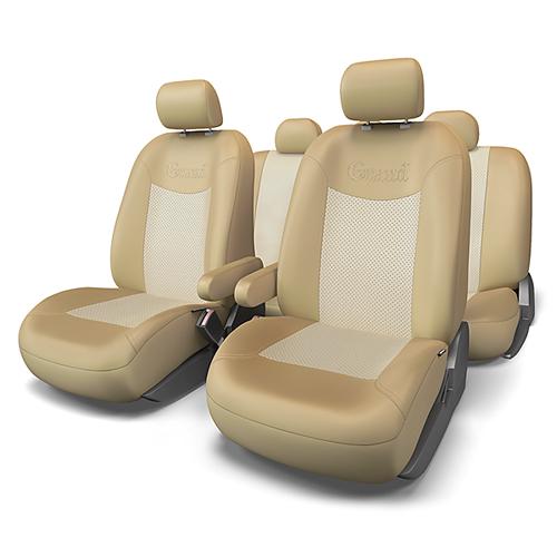 Набор авточехлов Autoprofi Grand, экокожа, цвет: темно-бежевый, светло-бежевый, 13 предметов. Размер MCA-3505Автомобильные чехлы Grand изготавливаются из высококачественной экокожи с цветными перфорированными вставками, задняя часть спинки из ткани. Мягкие и дышащие, чехлы являются отличным дополнением салона любого автомобиля. Изделия выполнены в классическом дизайне и придают автомобильному интерьеру современные и солидные черты.Полиуретановое покрытие искусственной кожи чехлов устойчиво к солнечным лучам, механическому воздействию и растяжению, благодаря чему чехлы отличаются продолжительным сроком эксплуатации.Основные особенности авточехлов Grand:- предустановленные крючки на широких резинках; - крепление передних спинок липучками; - 3 молнии в спинке заднего ряда; - 3 молнии в сиденье заднего ряда; - карманы в спинках передних сидений;- толщина поролона: 5 мм;- использование с боковыми airbag.Комплектация: - 1 сиденье заднего ряда; - 1 спинка заднего ряда; - 2 накидки переднего ряда; - 2 подлокотника;- 2 сиденья переднего ряда; - 5 подголовников; - набор фиксирующих крючков.