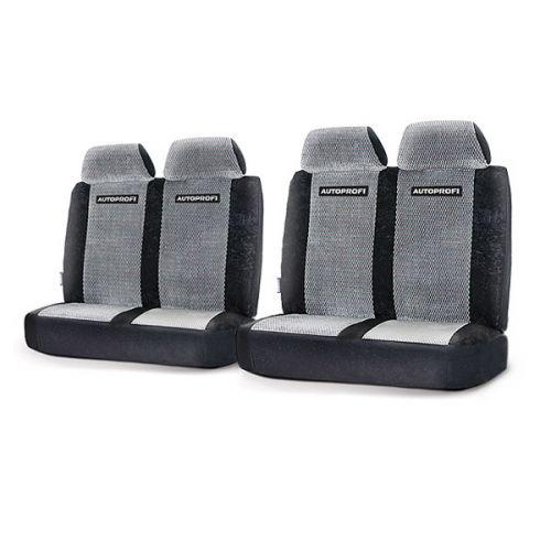 Модельные чехлы Autoprofi на ГАЗель, Соболь, Валдай, велюр, цвет: черный, серый. GAZ-003 BK/GYGAZ-003 BK/GYДанные чехлы разработаны специально для микроавтобусов, фургонов и грузовиков марок Газель, Соболь и Валдай. Серия включает в себя 3 модели чехлов различной комплектации, которые учитывают любые варианты расположения кресел в салоне автомобиля - как пассажирского, так и грузового или грузопассажирского. Чехлы изготавливаются из плотного велюра и отличаются высокой износостойкостью, а также грязеотталкивающими свойствами. При необходимости они легко снимаются, после стирки не теряют свою форму и надежно защищают кресла автомобиля, сохраняя в салоне чистоту и уют. Наполнитель - поролон. Передние спинки крепятся липучками. Комплектация: - 2 двойные спинки, - 2 двойных сиденья,- 4 подголовника,- набор фиксирующих крючков.Особенности: Толщина поролона - 5 ммПредустановленные крючки на широких резинкахКрепление передних спинок липучкамиВариантов комплектации - 3