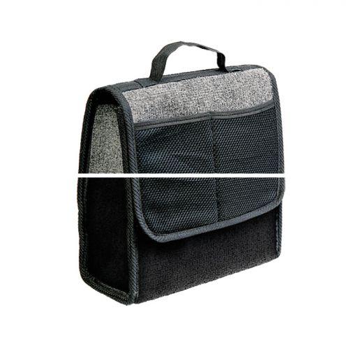 Сумка-органайзер в багажник Autoprofi Travel, ковролиновая, цвет: серый. ORG-10 GY06039A3320Сумка-органайзер в багажник Autoprofi Travel - это удобная и практичная вещь для перевозки и хранения в багажнике автомобиля инструментов, автохимии, аксессуаров и прочих предметов. Сумка изготовлена из износостойкого ковролина, гармонично сочетающегося с оформлением интерьера автомобиля. Органайзер позволяет рационально использовать место в багажном отделении, сохраняя его в чистоте и порядке. С передней стороны содержится 2 кармана. Полосы-липучки, расположенные на тыльной стороне и днище органайзера, не дают ему скользить по поверхности и надежно фиксируют его в багажнике. Для удобства переноски органайзер оснащен ручкой.