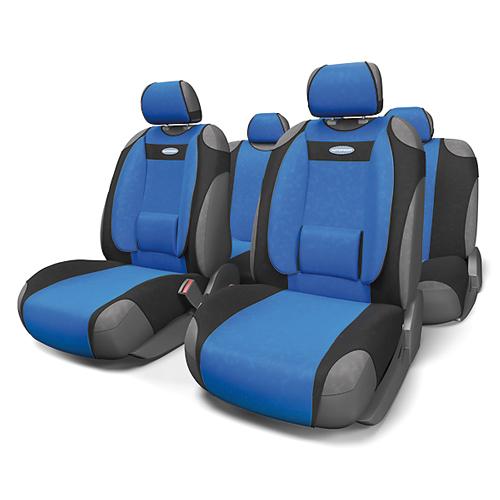 Чехлы-майки Autoprofi Comfort, велюр, цвет: черный, синий, 9 предметов. COM-905T BK/BLст18фЧехлы-майки Autoprofi Comfort разработаны с учетом анатомических особенностей человека. Чехлы оснащены объемной боковой поддержкой спины и поясничным упором, которые способствуют наиболее удобной осанке водителя и переднего пассажира и снижают усталость от многочасовых поездок. По форме чехлы напоминают майку. Благодаря этому они быстро и без усилий надеваются на кресла без демонтажа подголовников или подлокотников. Чехлы изготавливаются из велюра. Эластичный материал позволяет использовать майки на любых типах сидений.Комплектация: - 1 сиденье заднего ряда, - 1 спинка заднего ряда, - 2 чехла переднего ряда, - 5 подголовников, - набор фиксирующих крючков.Особенности: Использование с любыми типами сиденийБоковая поддержка спиныТолщина поролона - 5 мм