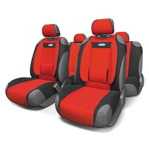 Чехлы-майки Autoprofi Comfort, велюр, цвет: черный, красный, 9 предметов. COM-905T BK/RDCOM-905T BK/RDЧехлы-майки Autoprofi Comfort разработаны с учетом анатомических особенностей человека. Чехлы оснащены объемной боковой поддержкой спины и поясничным упором, которые способствуют наиболее удобной осанке водителя и переднего пассажира и снижают усталость от многочасовых поездок. По форме чехлы напоминают майку. Благодаря этому они быстро и без усилий надеваются на кресла без демонтажа подголовников или подлокотников. Чехлы изготавливаются из велюра. Эластичный материал позволяет использовать майки на любых типах сидений.Комплектация: - 1 сиденье заднего ряда, - 1 спинка заднего ряда, - 2 чехла переднего ряда, - 5 подголовников, - набор фиксирующих крючков.Особенности: Использование с любыми типами сиденийБоковая поддержка спиныТолщина поролона - 5 мм