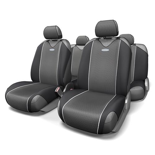 Чехлы-майки Autoprofi Carbon, полиэстер под карбон, цвет: серый, 9 предметов. CRB-802 GYASC-BS-18Autoprofi Carbon - наиболее респектабельная модель автомобильных чехлов-маек. Материал изделия повторяет переливающийся рисунок настоящего карбона и придает чехлам презентабельный и дорогой вид. Для автомобильного интерьера с карбоновыми элементами чехлы Carbon являются наиболее гармоничным дополнением. По форме чехлы напоминают майку. Благодаря этому они быстро и без усилий надеваются на кресла, не требуя демонтажа подголовников или подлокотников. Эластичный полиэстер изделий позволяет использовать их на любых типах сидений.Комплектация: - 1 сиденье заднего ряда, - 1 спинка заднего ряда, - 2 чехла переднего ряда, - 5 подголовников, - набор фиксирующих крючков.Особенности: Использование с любыми типами сиденийТолщина поролона - 2 ммПолиэстер с рисунком карбон
