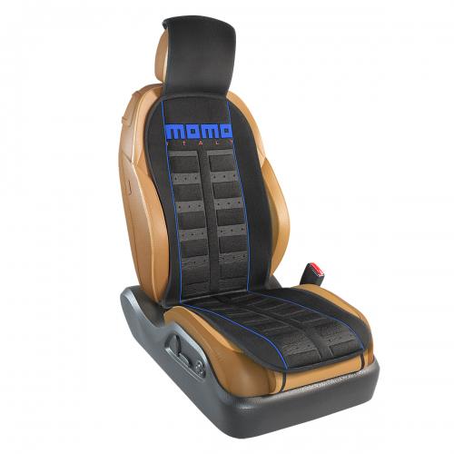 Накидка на переднее сиденье Momo Sport, полиэстер, цвет: черный, синий. MOMO-101 BK/BLCM000001326Накидка на переднее сиденье Momo Sport изготовлена из высококачественного полиэстера и надежно защищает кресла от грязи и изнашивания. Благодаря универсальному крою накидку можно использовать на передних сиденьях большинства автомобилей, в том числе оснащенных боковыми подушками безопасности. Установка не занимает много времени - накидка крепится с помощью эластичных резинок с пластмассовым креплением и закрывает не только спинку и сиденье, но и подголовник кресла. Имеется возможность использования с любыми типами сидений. Стильная накидка на сиденье Momo Sport обладает не только ярким дизайном, но и эргономичным кроем. Вдоль центральной оси накидки расположены прямоугольные выступы, которые массируют ноги и спину, и снижают таким образом усталость от поездок.
