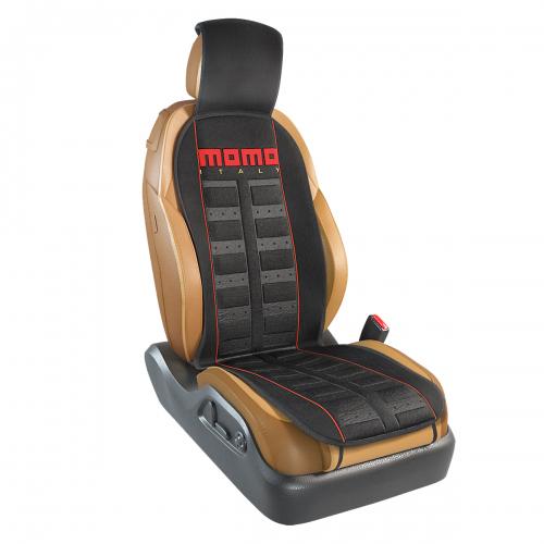 Накидка на переднее сиденье Momo Sport, полиэстер, цвет: черный, красный. MOMO-101 BK/RDFS-80423Накидка на переднее сиденье Momo Sport изготовлена из высококачественного полиэстера и надежно защищает кресла от грязи и изнашивания. Благодаря универсальному крою накидку можно использовать на передних сиденьях большинства автомобилей, в том числе оснащенных боковыми подушками безопасности. Установка не занимает много времени - накидка крепится с помощью эластичных резинок с пластмассовым креплением и закрывает не только спинку и сиденье, но и подголовник кресла. Имеется возможность использования с любыми типами сидений. Стильная накидка на сиденье Momo Sport обладает не только ярким дизайном, но и эргономичным кроем. Вдоль центральной оси накидки расположены прямоугольные выступы, которые массируют ноги и спину, и снижают таким образом усталость от поездок.