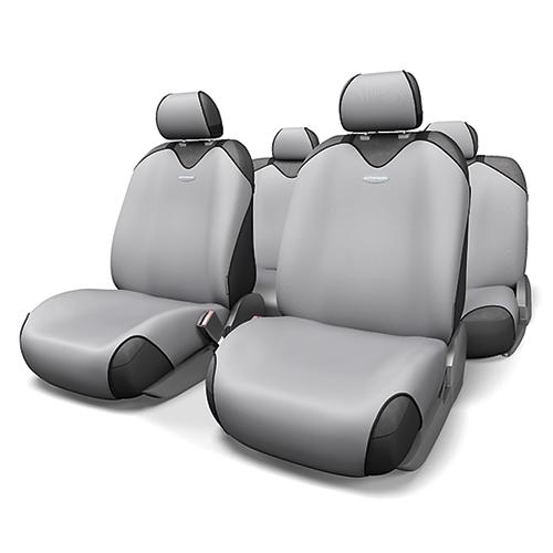 Чехлы-майки на сиденья Autoprofi R-1 Sport, полиэстер, цвет: светло-серый, 9 предметов. R-802 L.GYCOM-1105 Cyclone (M)Чехлы-майки на сиденья Autoprofi R-1 Sport выполнены из высококачественного полиэстера. Такая форма автомобильных чехлов позволяет без затруднений надевать их на кресла любого типа, не прибегая к демонтажу подголовников и подлокотников. Эластичный полиэстер маек плотно облегает поверхность кресел, не выцветает на солнце и не электризуется. Чехлы-майки на сиденья Autoprofi R-1 Sport выполнены в спортивном стиле, который придает салону яркие и динамичные черты. Широкая гамма расцветок чехлов позволяет подобрать их к любому интерьеру автомобиля. Имеется возможность использования с любыми типами сидений. Комплектация: - 1 сиденье заднего ряда, - 1 спинка заднего ряда, - 2 чехла переднего ряда, - 5 подголовников, - набор фиксирующих крючков.Особенности: Использование с любыми типами сиденийТолщина поролона - 2 мм