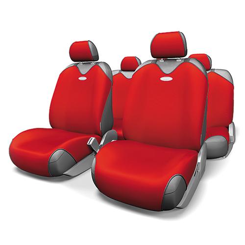 Чехлы-майки на сиденья Autoprofi R-1 Sport, полиэстер, цвет: красный, 9 предметов. R-802 RD54 009312Чехлы-майки на сиденья Autoprofi R-1 Sport выполнены из высококачественного полиэстера. Такая форма автомобильных чехлов позволяет без затруднений надевать их на кресла любого типа, не прибегая к демонтажу подголовников и подлокотников. Эластичный полиэстер маек плотно облегает поверхность кресел, не выцветает на солнце и не электризуется. Чехлы-майки на сиденья Autoprofi R-1 Sport выполнены в спортивном стиле, который придает салону яркие и динамичные черты. Широкая гамма расцветок чехлов позволяет подобрать их к любому интерьеру автомобиля. Имеется возможность использования с любыми типами сидений. Комплектация: - 1 сиденье заднего ряда, - 1 спинка заднего ряда, - 2 чехла переднего ряда, - 5 подголовников, - набор фиксирующих крючков.Особенности: Использование с любыми типами сиденийТолщина поролона - 2 мм