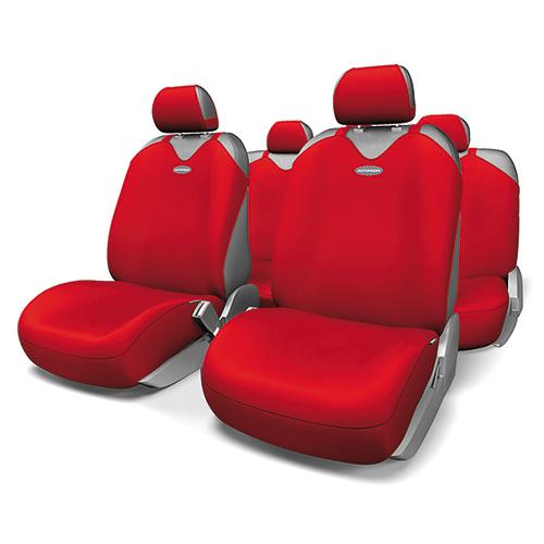 Чехлы-майки на сиденья Autoprofi Sport Plus, полиэстер, цвет: красный, 9 предметов. R-902P RD98298130Чехлы-майки Autoprofi Sport Plus, выполненные из высококачественного полиэстера, оснащены полностью закрытой нижней частью сидений, которая делает чехлы более практичными и износостойкими. Форма чехлов в виде маек позволяет легко и быстро надевать их на кресла любого типа, не прибегая к демонтажу подголовников и подлокотников. Чехлы-майки Autoprofi Sport Plus выполнены в спортивном стиле, который придает салону яркие и динамичные черты. Широкая гамма расцветок чехлов позволяет подобрать их к любому автомобильному интерьеру. Эластичный полиэстер изделий плотно облегает поверхность кресел, не выцветает на солнце и не электризуется. Имеется возможность использования с любыми типами сидений. Комплектация: - 1 сиденье заднего ряда, - 1 спинка заднего ряда, - 2 чехла переднего ряда, - 5 подголовников, - набор фиксирующих крючков.Особенности: Использование с любыми типами сиденийТолщина поролона - 5 мм