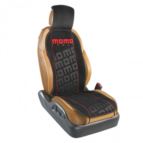Накидка на переднее сиденье Momo Tuning, цвет: черный, красный. MOMO-102 BK/RD54 009318Накидка Momo Tuning изготовлена из высококачественного полиэстера и надежно защищает кресла от грязи и изнашивания. Благодаря универсальному крою накидку можно использовать на передних сиденьях большинства автомобилей, в том числе оснащенных боковыми подушками безопасности. Установка не занимает много времени - накидка крепится с помощью эластичных резинок и закрывает не только спинку и сиденье, но и подголовник кресла. Имеется возможность использования с любыми типами сидений.Накидка на сиденье Momo Tuning выполнена в оригинальном дизайне Momo с фирменной выштамповкой логотипа компании в центральной части изделия. Накидка придает салону автомобиля запоминающиесяспортивные черты.