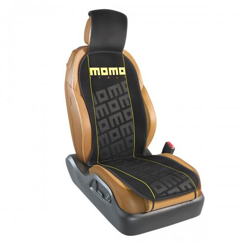 Накидка на переднее сиденье Momo Tuning, цвет: черный, желтый. MOMO-102 BK/YECM000001326Накидка Momo Tuning изготовлена из высококачественного полиэстера и надежно защищает кресла от грязи и изнашивания. Благодаря универсальному крою накидку можно использовать на передних сиденьях большинства автомобилей, в том числе оснащенных боковыми подушками безопасности. Установка не занимает много времени - накидка крепится с помощью эластичных резинок и закрывает не только спинку и сиденье, но и подголовник кресла. Имеется возможность использования с любыми типами сидений.Накидка на сиденье Momo Tuning выполнена в оригинальном дизайне Momo с фирменной выштамповкой логотипа компании в центральной части изделия. Накидка придает салону автомобиля запоминающиесяспортивные черты.