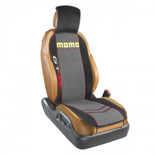 Накидка на переднее сиденье Momo Gtr, полиэстер, цвет: черный, серый. MOMO-103 BK/GY54 009318Накидка на переднее сиденье Momo Gtr изготовлена из высококачественного полиэстера и надежно защищает кресла от грязи и изнашивания. Благодаря универсальному крою накидку можно использовать на передних сиденьях большинства автомобилей, в том числе оснащенных боковыми подушками безопасности. Установка не занимает много времени - накидка крепится с помощью эластичных резинок с пластмассовым креплением и закрывает не только спинку и сиденье, но и подголовник кресла. Имеется возможность использования с любыми типами сидений.Накидка на сиденье изготовлена в ярко выраженном спортивном стиле, который позволяет придать салону подчеркнуто динамичные и эксклюзивные черты.