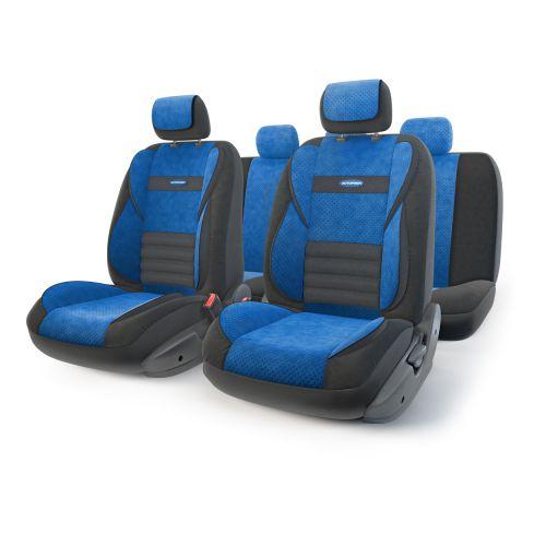 Набор ортопедических авточехлов Autoprofi Multi Comfort, велюр, цвет: черный, синий, 11 предметов. Размер M98298130Инновационная модель анатомических чехлов Multi Comfort. Объемные вставки изделий, расположенные на уровне поясницы, бедер и плечевого пояса, хорошо поддерживают тело водителя и пассажира при маневрах на дороге. В чехлы также вшит ребристый поясничный упор. Его ортопедическая форма снимает нагрузку с межпозвоночных дисков и способствует снижению усталости от многочасового вождения. Кроме этого, чехлы на подголовники оснащены мягким выступом, который поддерживает голову и уменьшает давление на затылок. В качестве внешнего материала используется сочетание плотного и перфорированного велюра. Велюр обладает привлекательным внешним видом и хорошими вентиляционными свойствами, а также очень приятен на ощупь. Основные особенности авточехлов Multi Comfort:- поддержка плечевого пояса; - боковая поддержка спины; - боковая поддержка ног; - ортопедический поясничный упор; - мягкая вставка на подголовнике; - крепление передних спинок липучками; - предустановленные крючки на широких резинках; - 3 молнии в спинке заднего ряда; - 3 молнии в сиденье заднего ряда; - карманы в спинках передних сидений;- толщина поролона: 5 мм; - использование с боковыми airbag. Комплектация: - 1 сиденье заднего ряда; - 1 спинка заднего ряда; - 2 сиденья переднего ряда; - 2 спинки переднего ряда; - 5 подголовников; - набор фиксирующих крючков.