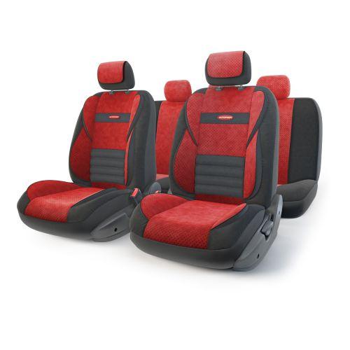 Набор ортопедических авточехлов Autoprofi Multi Comfort, велюр, цвет: черный, красный, 11 предметов. Размер MCM000001326Инновационная модель анатомических чехлов Multi Comfort. Объемные вставки изделий, расположенные на уровне поясницы, бедер и плечевого пояса, хорошо поддерживают тело водителя и пассажира при маневрах на дороге. В чехлы также вшит ребристый поясничный упор. Его ортопедическая форма снимает нагрузку с межпозвоночных дисков и способствует снижению усталости от многочасового вождения. Кроме этого, чехлы на подголовники оснащены мягким выступом, который поддерживает голову и уменьшает давление на затылок. В качестве внешнего материала используется сочетание плотного и перфорированного велюра. Велюр обладает привлекательным внешним видом и хорошими вентиляционными свойствами, а также очень приятен на ощупь. Основные особенности авточехлов Multi Comfort:- поддержка плечевого пояса; - боковая поддержка спины; - боковая поддержка ног; - ортопедический поясничный упор; - мягкая вставка на подголовнике; - крепление передних спинок липучками; - предустановленные крючки на широких резинках; - 3 молнии в спинке заднего ряда; - 3 молнии в сиденье заднего ряда; - карманы в спинках передних сидений;- толщина поролона: 5 мм; - использование с боковыми airbag. Комплектация: - 1 сиденье заднего ряда; - 1 спинка заднего ряда; - 2 сиденья переднего ряда; - 2 спинки переднего ряда; - 5 подголовников; - набор фиксирующих крючков.