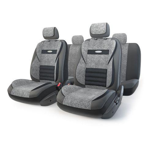Набор ортопедических авточехлов Autoprofi Multi Comfort, экокожа, цвет: черный, серый, 11 предметов. Размер MMLT-1105GV BK/D.GY (M)Анатомические чехлы Multi Comfort отличаются объемными вставками, расположенными не только на уровне плеч и поясницы, но и в областибедер. Благодаря своей особой форме, вставки эффективно поддерживают тело водителя и пассажира в движении, снижая усталость от дороги. Вчехлы переднего ряда также вшит рельефный поясничный упор. Его выпуклая форма способствует уменьшению нагрузки на межпозвоночныедиски и делает более комфортными дальние поездки. Кроме этого, чехлы на подголовники оснащены мягким выступом, который поддерживаетголову и снижает давление на затылочную часть.Чехлы изготавливаются из экокожи и текстурированного велюра различных цветов, которые обладают привлекательным внешним видом и нетребуют больших усилий при уходе.Основные особенности авточехлов Multi Comfort:- поддержка плечевого пояса; - боковая поддержка спины; - боковая поддержка ног; - ортопедический поясничный упор; - мягкая вставка на подголовнике; - крепление передних спинок липучками; - предустановленные крючки на широких резинках; - 3 молнии в спинке заднего ряда; - 3 молнии в сиденье заднего ряда; - толщина поролона: 5 мм; - карманы в спинках передних сидений. Комплектация: - 1 сиденье заднего ряда; - 1 спинка заднего ряда; - 2 сиденья переднего ряда; - 2 спинки переднего ряда; - 5 подголовников; - набор фиксирующих крючков.