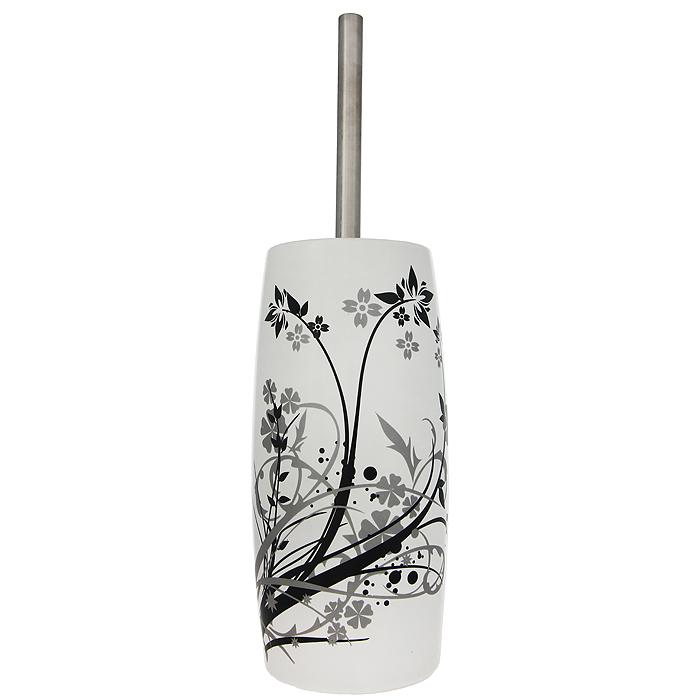 Ерш для унитаза Duschy Aster, с подставкойBH-UN0502( R)Ерш для унитаза с подставкой Duschy Aster выполнен из керамики белого цвета, украшенной растительным рисунком черного и серого цветов. Прочная металлическая ручка и жесткий ворс обеспечивают эффективное использование. Подставка под ерш отличается легкостью и компактностью. Такой набор станет достойным дополнением туалетной комнаты. Характеристики:Материал: керамика, металл. Цвет: белый. Размер подставки: 24 см х 10 см х 10 см. Длина ершика: 34 см. Размер упаковки: 26 см х 13 см х 13 см. Артикул: 354-06.