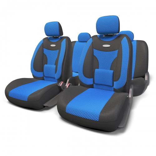 Набор ортопедических авточехлов Autoprofi Extra Comfort, формованный велюр, цвет: черный, синий, 11 предметов. Размер MCA-3505Эргономичные авточехлы Extra Comfort разработаны с учетом анатомических особенностей человеческого тела, за счет чего снижают утомляемость от продолжительных поездок. Объемные боковые подушки чехлов помогают уменьшить нагрузку на мышечный корсет и суставы в поворотах, а поясничный упор делает осанку более естественной.Формованный велюр чехлов придает изделиям интересный и запоминающийся вид, способный в корне преобразить облик салона автомобиля. Материал чехлов не выцветает на солнце, не электризуется и обладает высокими грязеотталкивающими свойствами.Основные особенности авточехлов Extra Comfort:- боковая поддержка спины; - 3 молнии в спинке заднего ряда; - 3 молнии в сиденье заднего ряда; - карманы в спинках передних сидений; - ортопедический поясничный упор; - поддержка плечевого пояса; - предустановленные крючки на широких резинках;- использование с боковыми airbag;- толщина поролона: 5 мм.Комплектация: - 1 сиденье заднего ряда; - 1 спинка заднего ряда; - 2 сиденья переднего ряда; - 2 спинки переднего ряда; - 5 подголовников; - набор фиксирующих крючков.