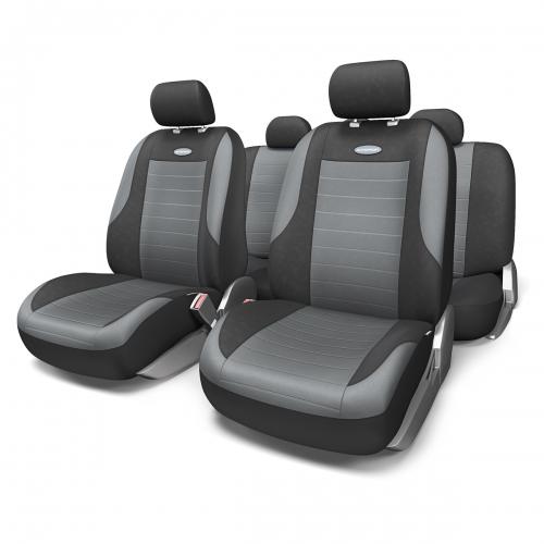 Набор авточехлов Autoprofi Evolution, велюр, цвет: черный, темно-серый, 11 предметов. Размер MCOM-905T BK/RDКлассическая модель авточехлов Evolution выполнена в спортивном стиле, придающем салону автомобиля яркие и динамичные черты. Велюр, из которого изготавливаются чехлы, очень приятен на ощупь и обладает высокой износостойкостью. Материал не выцветает на солнце, не электризуется и имеет высокие грязеотталкивающие свойства.Велюр триплирован 5-миллиметровым слоем поролона, который помогает чехлам сохранять свою форму на протяжении всего срока службы. Благодаря триплированию чехлы плотно облегают сиденья, не скользят по их поверхности и не мнутся.Основные особенности авточехлов Evolution:- 3 молнии в спинке заднего ряда; - карманы в спинках передних сидений;- толщина поролона: 5 мм.Комплектация: - 1 сиденье заднего ряда; - 1 спинка заднего ряда; - 2 сиденья переднего ряда; - 2 спинки переднего ряда; - 5 подголовников; - набор фиксирующих крючков.