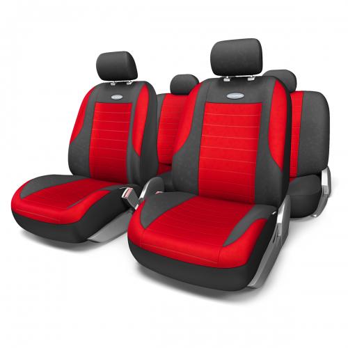 Набор авточехлов Autoprofi Evolution, велюр, цвет: черный, красный, 11 предметов. Размер MДУ-1100Классическая модель авточехлов Evolution выполнена в спортивном стиле, придающем салону автомобиля яркие и динамичные черты. Велюр, из которого изготавливаются чехлы, очень приятен на ощупь и обладает высокой износостойкостью. Материал не выцветает на солнце, не электризуется и имеет высокие грязеотталкивающие свойства.Велюр триплирован 5-миллиметровым слоем поролона, который помогает чехлам сохранять свою форму на протяжении всего срока службы. Благодаря триплированию чехлы плотно облегают сиденья, не скользят по их поверхности и не мнутся.Основные особенности авточехлов Evolution:- 3 молнии в спинке заднего ряда; - карманы в спинках передних сидений;- толщина поролона: 5 мм.Комплектация: - 1 сиденье заднего ряда; - 1 спинка заднего ряда; - 2 сиденья переднего ряда; - 2 спинки переднего ряда; - 5 подголовников; - набор фиксирующих крючков.