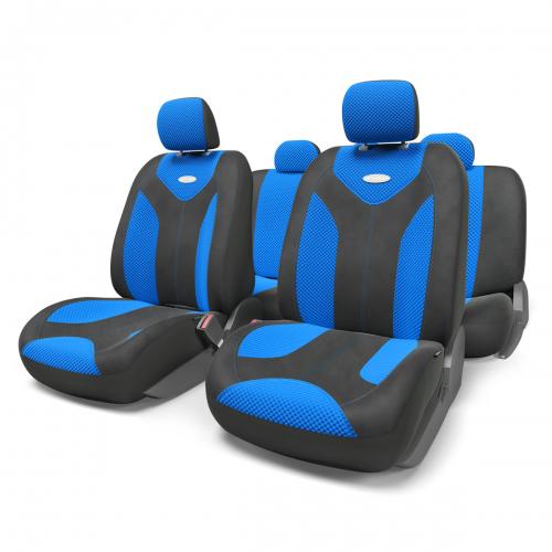 Набор авточехлов Autoprofi Matrix, велюр, цвет: черный, синий, 11 предметов. Размер Sст18фЯркий и привлекательный дизайн - отличительная черта автомобильных чехлов Matrix. Классические чехлы Matrix изготовлены из формованного велюра, триплированного поролоном. Благодаря этому они обладают хорошими дышащими свойствами и позволяют водителю и пассажирам чувствовать себя комфортно даже во время долгой дороги.Формованный велюр не выцветает на солнце, не электризуется и обладает высокими грязеотталкивающими свойствами. Он придает чехлам запоминающийся вид, преображающий облик салона автомобиля.Основные особенности авточехлов Matrix:- предустановленные крючки на широких резинках; - 3 молнии в спинке заднего ряда; - 3 молнии в сиденье заднего ряда; - карманы в спинках передних сидений; - толщина поролона: 5 мм.Комплектация: - 1 сиденье заднего ряда; - 1 спинка заднего ряда; - 2 сиденья переднего ряда; - 2 спинки переднего ряда; - 5 подголовников; - набор фиксирующих крючков.