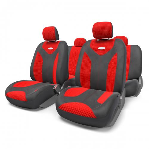 Набор авточехлов Autoprofi Matrix, велюр, цвет: черный, красный, 11 предметов. Размер S21395599Яркий и привлекательный дизайн - отличительная черта автомобильных чехлов Matrix. Классические чехлы Matrix изготовлены из формованного велюра, триплированного поролоном. Благодаря этому они обладают хорошими дышащими свойствами и позволяют водителю и пассажирам чувствовать себя комфортно даже во время долгой дороги.Формованный велюр не выцветает на солнце, не электризуется и обладает высокими грязеотталкивающими свойствами. Он придает чехлам запоминающийся вид, преображающий облик салона автомобиля.Основные особенности авточехлов Matrix:- предустановленные крючки на широких резинках; - 3 молнии в спинке заднего ряда; - 3 молнии в сиденье заднего ряда; - карманы в спинках передних сидений; - толщина поролона: 5 мм.Комплектация: - 1 сиденье заднего ряда; - 1 спинка заднего ряда; - 2 сиденья переднего ряда; - 2 спинки переднего ряда; - 5 подголовников; - набор фиксирующих крючков.