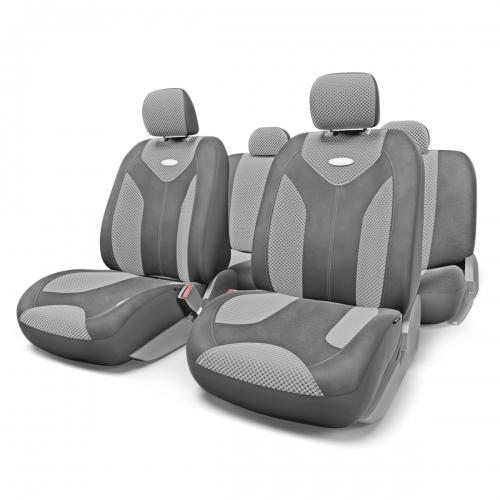 Набор авточехлов Autoprofi Matrix, велюр, цвет: темно-серый, светло-серый, 11 предметов. Размер S98298130Яркий и привлекательный дизайн - отличительная черта автомобильных чехлов Matrix. Классические чехлы Matrix изготовлены из формованного велюра, триплированного поролоном. Благодаря этому они обладают хорошими дышащими свойствами и позволяют водителю и пассажирам чувствовать себя комфортно даже во время долгой дороги.Формованный велюр не выцветает на солнце, не электризуется и обладает высокими грязеотталкивающими свойствами. Он придает чехлам запоминающийся вид, преображающий облик салона автомобиля.Основные особенности авточехлов Matrix:- предустановленные крючки на широких резинках; - 3 молнии в спинке заднего ряда; - 3 молнии в сиденье заднего ряда; - карманы в спинках передних сидений; - толщина поролона: 5 мм.Комплектация: - 1 сиденье заднего ряда; - 1 спинка заднего ряда; - 2 сиденья переднего ряда; - 2 спинки переднего ряда; - 5 подголовников; - набор фиксирующих крючков.