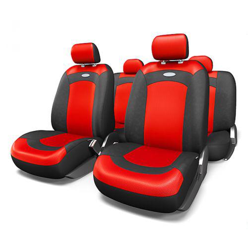Набор авточехлов Autoprofi Extreme, велюр, цвет: черный, красный, 8 предметов. Размер M98298130Модель Extreme сделана по традиционной цельной схеме, без разделения на чехлы для спинки и сиденья. Благодаря этому она является наиболее доступной из серии классических автомобильных чехлов, не уступая в функциональности другим моделям.Чехлы Extreme обладают приятным двухцветным дизайном, который гармонично смотрится с любым автомобильным интерьером. В качестве материалов используются велюр и объемная сетчатая ткань. Ткань способствует улучшенной вентиляции кресел и позволяет сделать комфортными даже дальние поездки.Основные особенности авточехлов Extreme:- 3 молнии в спинке заднего ряда;- использование с боковыми airbag: нет;- толщина поролона: 3 мм.Комплектация: - 1 сиденье заднего ряда; - 1 спинка заднего ряда; - 2 чехла переднего ряда; - 4 подголовника; - набор фиксирующих крючков.