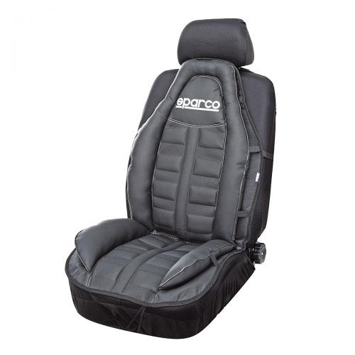 Накидка на сиденье Sparco, экокожа, наполнитель: синтепон, цвет: черныйАксион Т-33Накидка Sparco изготовлена из экокожи и отличается прочностью и легкостью чистки. Благодаря универсальному крою накидку можно использовать на передних сиденьях большинства современных автомобилей. Установка не занимает много времени - на кресло накидка крепится с помощью эластичных резинок. Имеется возможность использования с любыми типами сидений. Накидка на сиденье Sparco разработана с учетом анатомических особенностей человека. По контуру изделие оснащено объемными вставками, которые поддерживают тело и ноги водителя и пассажира во время движения. В центральной части накидки также имеются рельефные выпуклости, массирующие ноги и спину и снижающие таким образом усталость от поездок.Особенности:Использование с любыми типами сидений.Боковая поддержка ног.Боковая поддержка спины.
