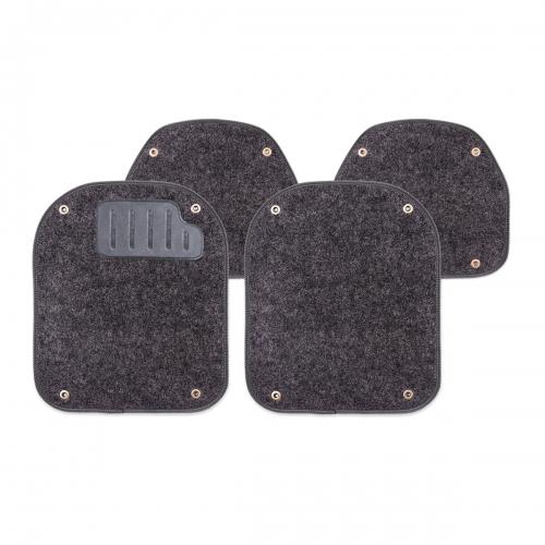 Вкладыши ковролиновые Autoprofi для автомобильных ковриков, цвет: черный, 4 штVT-1520(SR)Комплект Autoprofi состоит из 2 вкладышей в автомобильные коврики переднего ряда и 2 вкладышей в автомобильные коврики заднего ряда. Вкладыши изготовлены из уютного и износостойкого ковролина. Они легко пристегиваются и снимаются. Надежное крепление гарантируют четыре металлические кнопки. Имеется опора для ног водителя из термопласта, которая обеспечивает комфортное управление автомобилем. Вкладыши устойчивы к влаге, грязи и УФ-лучам. Характеристики: Материал: ковролин, термопласт. Цвет: черный. Размер вкладыша для ковриков переднего ряда: 4 см х 4,8 см. Размер вкладыша для ковриков заднего ряда: 4 см х 3,6 см. Артикул: PET-500i BK.
