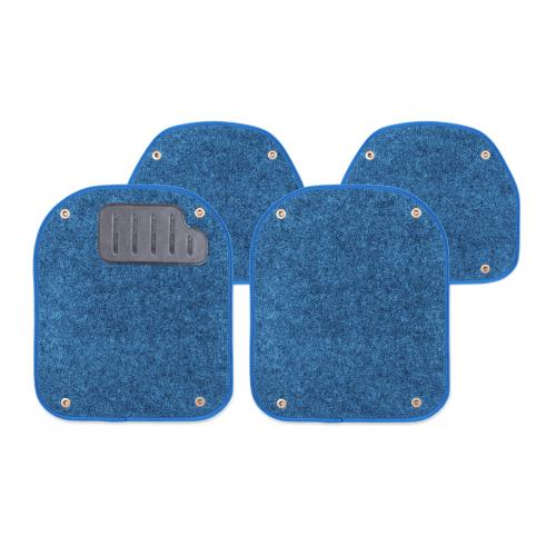 Вкладыши ковролиновые Autoprofi для автомобильных ковриков, цвет: синий, 4 шт80621Комплект Autoprofi состоит из 2 вкладышей в автомобильные коврики переднего ряда и 2 вкладышей в автомобильные коврики заднего ряда. Вкладыши изготовлены из уютного и износостойкого ковролина. Они легко пристегиваются и снимаются. Надежное крепление гарантируют четыре металлические кнопки. Имеется опора для ног водителя из термопласта, которая обеспечивает комфортное управление автомобилем. Вкладыши устойчивы к влаге, грязи и УФ-лучам. Характеристики: Материал: ковролин, термопласт. Цвет: синий. Размер вкладыша для ковриков переднего ряда: 4 см х 4,8 см. Размер вкладыша для ковриков заднего ряда: 4 см х 3,6 см. Артикул: PET-500i BL.