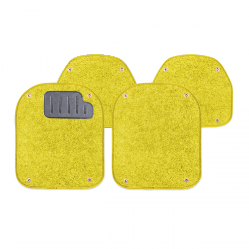 Вкладыши ковролиновые Autoprofi для автомобильных ковриков, цвет: желтый, 4 штFS-80423Комплект Autoprofi состоит из 2 вкладышей в автомобильные коврики переднего ряда и 2 вкладышей в автомобильные коврики заднего ряда. Вкладыши изготовлены из уютного и износостойкого ковролина. Они легко пристегиваются и снимаются. Надежное крепление гарантируют четыре металлические кнопки. Имеется опора для ног водителя из термопласта, которая обеспечивает комфортное управление автомобилем. Вкладыши устойчивы к влаге, грязи и УФ-лучам. Характеристики: Материал: ковролин, термопласт. Цвет: желтый. Размер вкладыша для ковриков переднего ряда: 4 см х 4,8 см. Размер вкладыша для ковриков заднего ряда: 4 см х 3,6 см. Артикул: PET-500i YE.