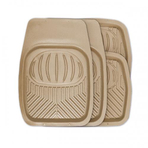 Коврики автомобильные Autoprofi Polar, универсальные, цвет: бежевый, 4 предметаВетерок 2ГФУниверсальные автомобильные коврики Autoprofi Polar изготовлены из термопласта-эластомера, который отличается небольшим весом, отсутствием характерного для резины запаха и высокой износостойкостью. Инновационный материал сохраняет свою эластичность даже при экстремально низких температурах до -50°С и устойчив к воздействию агрессивных веществ, таких как масло, топливо или дорожные реагенты. На передних ковриках имеются специальные насечки для разреза, которые позволяют придать им форму, соответствующую выемкам днища автомобиля. Благодаря этому они плотно прилегают к полу, защищая его от грязи и влаги. Высокие фрикционные свойства материала ковриков не дают им скользить по салону и под ногами водителя и пассажира. Характеристики: Материал: термопласт-эластомер. Цвет: бежевый. Комплектация: 4 шт. Температура использования: от -50°С до +50°С. Размер переднего коврика: 69 см х 48 см. Размер заднего коврика: 48 см х 48 см. Размер упаковки: 5 см х 69 см х 48 см. Артикул: TER-105 BE.