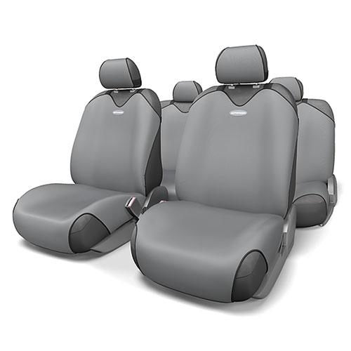 Чехлы-майки на сиденья Autoprofi R-1 Sport, полиэстер, цвет: темно-серый, 9 предметов. R-802 D.GY19200Чехлы-майки на сиденья Autoprofi R-1 Sport выполнены из высококачественного полиэстера. Такая форма автомобильных чехлов позволяет без затруднений надевать их на кресла любого типа, не прибегая к демонтажу подголовников и подлокотников. Эластичный полиэстер маек плотно облегает поверхность кресел, не выцветает на солнце и не электризуется. Чехлы-майки на сиденья Autoprofi R-1 Sport выполнены в спортивном стиле, который придает салону яркие и динамичные черты. Широкая гамма расцветок чехлов позволяет подобрать их к любому интерьеру автомобиля. Имеется возможность использования с любыми типами сидений. Комплектация: - 1 сиденье заднего ряда, - 1 спинка заднего ряда, - 2 чехла переднего ряда, - 5 подголовников, - набор фиксирующих крючков.Особенности: Использование с любыми типами сиденийТолщина поролона - 2 мм