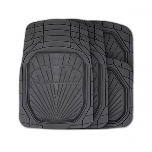 Коврики автомобильные Autoprofi Power, универсальные, вырезаемые, цвет: черный, 4 предметаFS-80264Универсальные автомобильные коврики Autoprofi Power изготовлены из термопласта-эластомера с высокими фрикционными качествами, благодаря чему изделия не скользят под ногами и плотно лежат на поверхности пола, защищая его от грязи и влаги. Термопласт-эластомер отличается небольшим весом, отсутствием характерного для резины запаха и высокой износостойкостью. Материал сохраняет свою эластичность даже при экстремально низких температурах до -50°С и устойчив к воздействию агрессивных веществ, таких как масло, топливо или дорожные реагенты. Комплект ковриков можно использовать в большинстве современных легковых автомобилей. Широкая универсальность обусловлена специальным рисунком ковриков-трансформов. На их поверхности имеется разветвленная сеть насечек для разреза, которая позволяет придать коврикам форму, точно соответствующую днищу салона. Характеристики: Материал: термопласт-эластомер. Цвет: черный. Комплектация: 4 шт. Температура использования: от -50°С до +50°С. Размер переднего коврика: 79 см х 51,5 см. Размер заднего коврика: 47 см х 50 см. Размер упаковки: 45 см х 5 см х 46 см. Артикул: TER-510 BK.