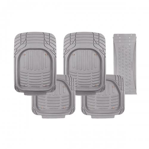 Коврики автомобильные Autoprofi, универсальные, морозостойкие, цвет: серый, 5 предметовVT-1520(SR)Комплект универсальных ковриков Autoprofi, изготовленных из термопласта-эластомера, надежно защищает салон от грязи и влаги. При необходимости они легко отстегиваются, чистятся и сушатся. Коврики оснащены отверстиями для фиксации крючками, противоскользящими шипами и липучками на тыльной стороне. Также имеется узел для сочленения ковриков и перемычки заднего ряда. Характеристики: Материал: термопласт-эластомер. Цвет: серый. Комплектация: 5 шт. Температура использования ковриков: от -50°С до +50°С. Размер переднего коврика: 73 см х 52 см. Размер заднего коврика: 47,5 см х 51,5 см. Размер перемычки для заднего ряда: 70 см х 29 см. Артикул: TER-500i GY.