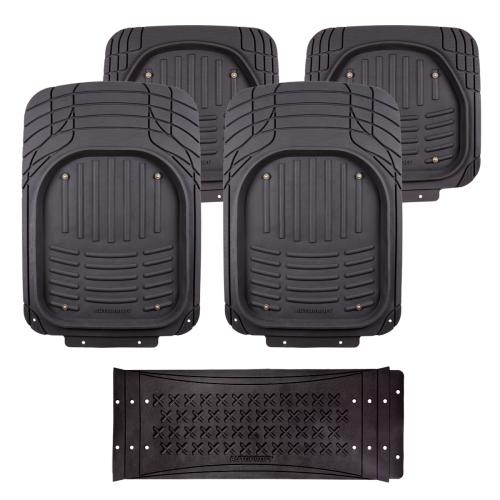 Коврики автомобильные Autoprofi, универсальные, морозостойкие, цвет: черный, 5 предметовWT-CD37Комплект универсальных ковриков Autoprofi, изготовленных из термопласта-эластомера, надежно защищает салон от грязи и влаги. При необходимости они легко отстегиваются, чистятся и сушатся. Коврики оснащены отверстиями для фиксации крючками, противоскользящими шипами и липучками на тыльной стороне. Также имеется узел для сочленения ковриков и перемычки заднего ряда. Характеристики: Материал: термопласт-эластомер. Цвет: черный. Комплектация: 5 шт. Температура использования ковриков: от -50°С до +50°С. Размер переднего коврика: 73 см х 52 см. Размер заднего коврика: 47,5 см х 51,5 см. Размер перемычки для заднего ряда: 70 см х 29 см. Артикул: TER-500i BK.