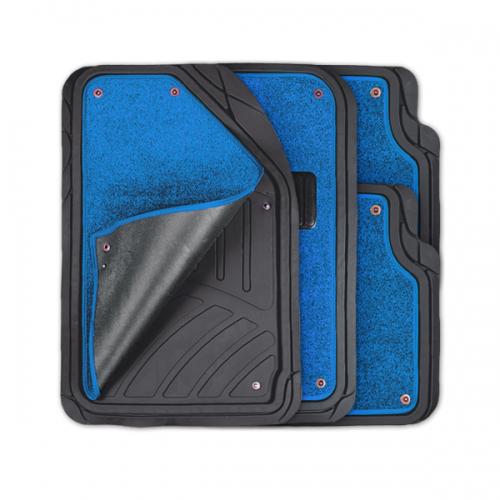 Коврики автомобильные Autoprofi Focus 2, универсальные, морозостойкие, цвет: черный, синий, 4 предметаVT-1520(SR)Коврики Autoprofi Focus 2 оснащены слоем мягкого и привлекательного ковролина, который придает салону автомобиля уют и комфорт. При необходимости ковролин можно легко отстегнуть, почистить и высушить. В качестве основы ковриков используется термопласт-эластомер, который сохраняет свою эластичность при очень низких температурах - до -50°С. Материал характеризуется небольшим весом, отсутствием типичного для резины запаха и высокой износостойкостью. Насечки для разреза на поверхности ковриков помогают корректировать размер и форму изделий, адаптируя их под профиль днища. Благодаря этому и высоким фрикционным качествам термопласта-эластомера коврики не скользят под ногами и плотно лежат на поверхности пола, защищая его от грязи и влаги. Характеристики: Материал: термопласт-эластомер. Цвет: черный, синий. Комплектация: 4 шт. Температура использования ковриков: от -50°С до +50°С. Размер переднего коврика: 72 см х 50 см. Размер заднего коврика: 50 см х 55 см. Артикул: TER-420 BK/BL.