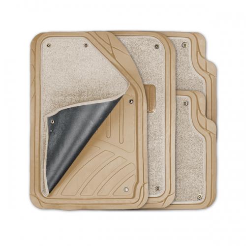 Коврики автомобильные Autoprofi Focus 2, универсальные, морозостойкие, цвет: бежевый, 4 предметаFS-80264Коврики Autoprofi Focus 2 оснащены слоем мягкого и привлекательного ковролина, который придает салону автомобиля уют и комфорт. При необходимости ковролин можно легко отстегнуть, почистить и высушить. В качестве основы ковриков используется термопласт-эластомер, который сохраняет свою эластичность при очень низких температурах - до -50°С. Материал характеризуется небольшим весом, отсутствием типичного для резины запаха и высокой износостойкостью. Насечки для разреза на поверхности ковриков помогают корректировать размер и форму изделий, адаптируя их под профиль днища. Благодаря этому и высоким фрикционным качествам термопласта-эластомера коврики не скользят под ногами и плотно лежат на поверхности пола, защищая его от грязи и влаги. Характеристики: Материал: термопласт-эластомер. Цвет: бежевый. Комплектация: 4 шт. Температура использования ковриков: от -50°С до +50°С. Размер переднего коврика: 72 см х 50 см. Размер заднего коврика: 50 см х 55 см. Артикул: TER-420 BE.