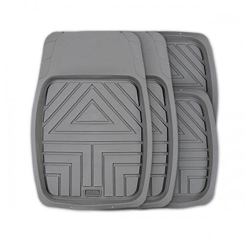 Коврики автомобильные Autoprofi Arrow, универсальные, цвет: серый, 4 предметаВетерок 2ГФКомплект универсальных ковриков-ванночек Autoprofi Arrow с рисунком в виде стрелы гармонично смотрится в салоне любого автомобиля. Насечки для разреза передних ковриков позволяют придать им форму, соответствующую выемкам днища. Благодаря этому они плотно прилегают к полу, защищая его от грязи и влаги.Коврики изготавливаются из термопласта-эластомера, который отличается небольшим весом, отсутствием характерного для резины запаха и сохраняет эластичность при экстремально низких температурах - до -50°С. Материал устойчив к износу и воздействию агрессивных веществ - масла, топлива, дорожных реагентов, а также обладает высокими фрикционными свойствами. Они не позволяют коврикам скользить по салону и под ногами водителя и пассажира. Характеристики: Материал: термопласт-эластомер. Цвет: серый. Комплектация: 4 шт. Температура использования ковриков: от -50°С до +50°С. Размер переднего коврика: 70 см х 49 см. Размер заднего коврика: 49 см х 47 см. Артикул: TER-110 GY.