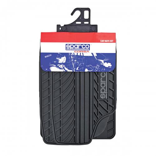 Ковры автомобильные Sparco Classic, ПВХ, морозоустойчивые, цвет: черный, серый, 4 предметаVT-1520(SR)Автомобильные ковры Sparco Classic изготовлены из ПВХ, который сохраняет эластичность даже на морозе, устойчив к воздействию агрессивных веществ, таких как масло, топливо или дорожные реагенты, и легко чистится. Универсальная форма изделий позволяет использовать их на большинстве автомобилей. Специальные насечки помогают корректировать размер ковриков под профиль днища. Внешний вид ковриков напоминает рисунок протектора автомобильных покрышек. Подобный дизайнерский элемент придает салону ярко выраженные спортивные черты и способствует тому, что коврики надежно лежат на поверхности пола и не скользят под ногами по время движения. Характеристики: Материал: ПВХ. Цвет: черный, серый. Комплектация: 4 шт. Размер упаковки: 5 см х 75 см х 47 см. Артикул: SPC/CLS-504 BK/GY.