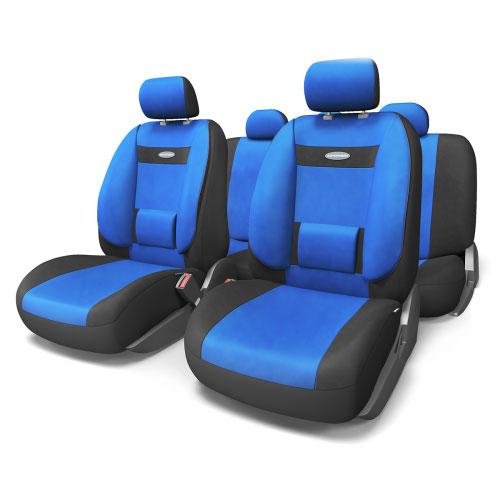 Набор ортопедических авточехлов Autoprofi Comfort, велюр, цвет: черный, синий, 11 предметов. Размер M. COM-1105 BK/BL (M)