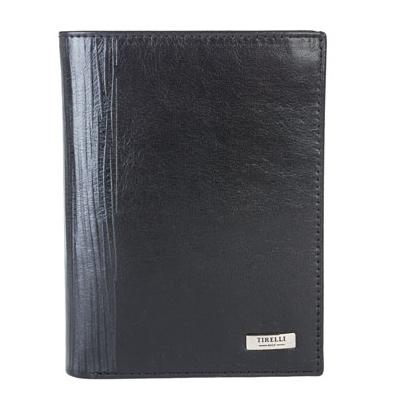 Портмоне вертикальное мужское Tirelli Wood, цвет: черный. 15-312-08INT-06501Портмоне Tirelli Wood изготовлено из натуральной кожи черного цвета с матовой текстурой и украшено тиснением по сгибу. Портмоне оформлено фирменным логотипом. Внутри имеется 2 отделения для купюр, кармашек на кнопке для монет, 3 прорезных кармана для хранения пластиковых карт, визиток, дисконтных карт и т. п., один из которых закрыт сетчатой тканью, и 3 потайных кармашка. Такое портмоне не только поможет сохранить внешний вид ваших документов и защитит их от повреждений, но и станет ярким аксессуаром, который подчеркнет ваш образ. Изделие упаковано в подарочную коробку синего цвета с логотипом фирмы Tirelli. Характеристики:Материал: натуральная кожа, текстиль. Цвет: черный. Размер портмоне (в сложенном виде): 12,5 см х 9,5 см х 1,5 см. Размер упаковки: 16 см х 12 см х 3 см. Артикул: 15-312-08.