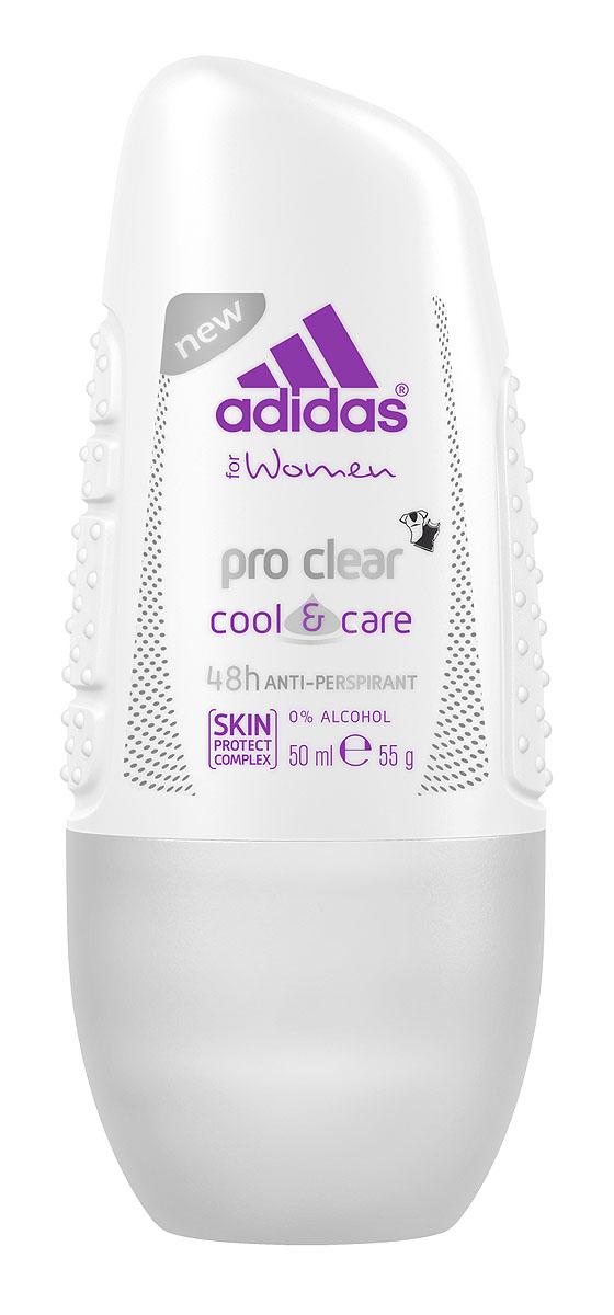 Adidas Дезодорант шариковый Pro Clear. Cool & Care, женский, 50 мл