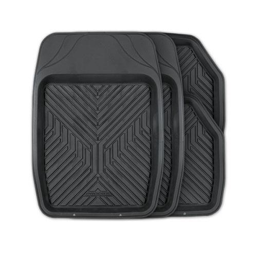 Коврики автомобильные Autoprofi Groove, универсальные, цвет: черный, 4 предмета0201090201Универсальные автомобильные коврики Autoprofi Groove изготовлены из термопласта-эластомера, который отличается небольшим весом, отсутствием характерного для резины запаха и высокой износостойкостью. Инновационный материал сохраняет свою эластичность даже при экстремально низких температурах до -50°С и устойчив к воздействию агрессивных веществ, таких как масло, топливо или дорожные реагенты. Насечки для разреза на передних ковриках позволяют придать им различную форму и подогнать под нужный профиль днища, надежно изолировав его от грязи и влаги. Высокие фрикционные свойства материала ковриков не дают им скользить по салону и под ногами водителя и пассажира. Характеристики: Материал: термопласт-эластомер. Цвет: черный. Комплектация: 4 шт. Температура использования: от -50°С до +50°С. Размер переднего коврика: 69 см х 48 см. Размер заднего коврика: 48 см х 48 см. Размер упаковки: 5 см х 69 см х 48 см. Артикул: TER-150 BK.